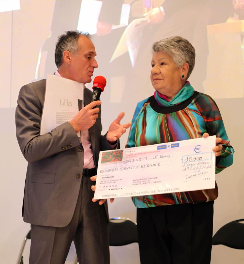 Remise d'un chèque de 18 000 € à l'Institut Bergonié
