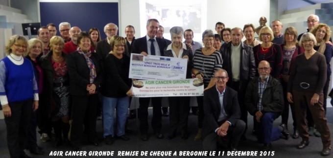 23000€ remis à la recherche de l'Institut Bergonié 17 DÉCEMBRE 2015
