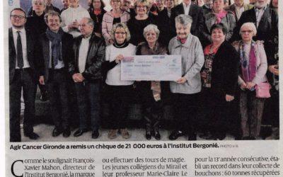 SOUTIEN A LA RECHERCHE  DE L'INSTITUT BERGONIE: 21 000€